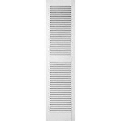 18 in. x 48 in. Lifetime Vinyl Custom Straight Top Center Mullion Open Louvered Shutters Pair Bright White
