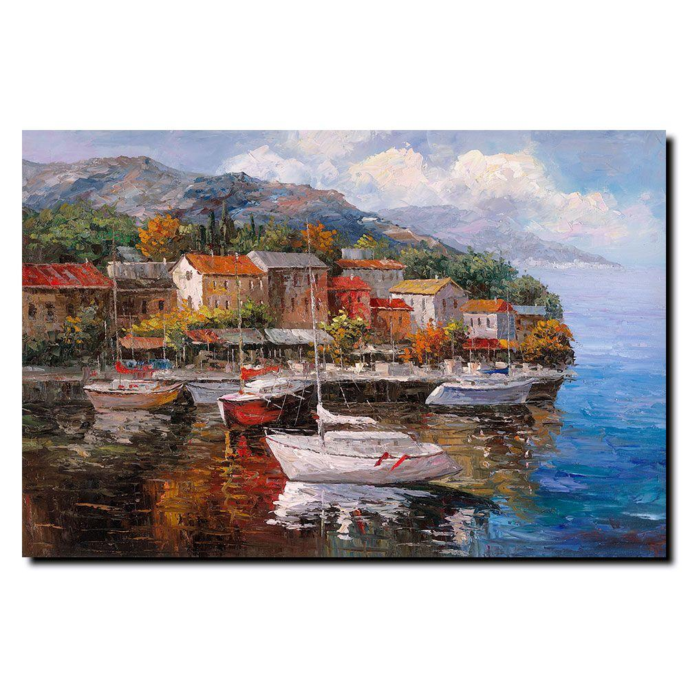 24 in. x 32 in. Boats Canvas Art