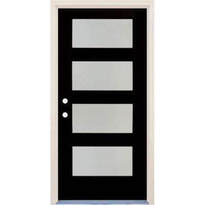 36 in. x 80 in. Elite Inkwell Satin Etch Glass Contemporary 4 Lite Painted Fiberglass Prehung Front Door with Brickmould