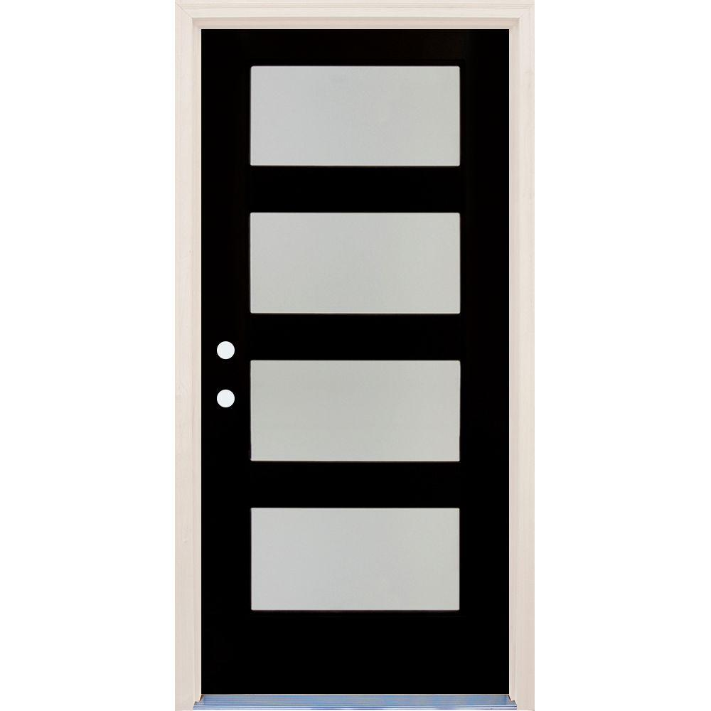 Builders Choice 36 in x 80 in Elite Inkwell RH 4 Lite Satin Etch Glass Contemporary Painted Fiberglass Prehung Front Door w/ Brickmould