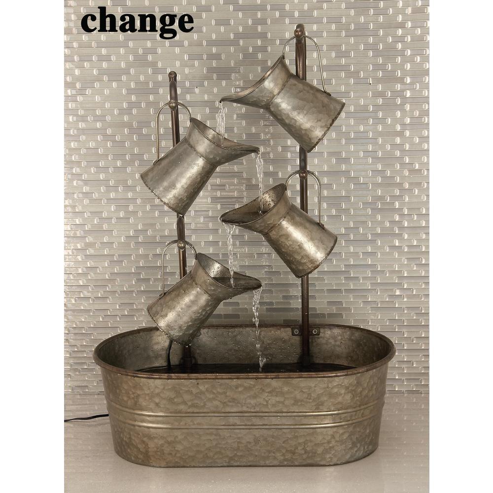 Gray 4-Jugs on an Oval Basin Metal Fountain