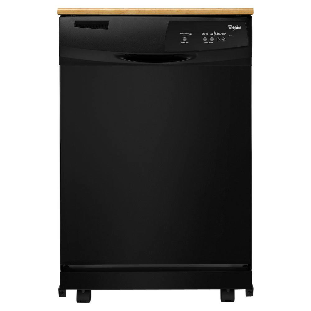 Whirlpool Convertible Portable Tall Tub Dishwasher in Black