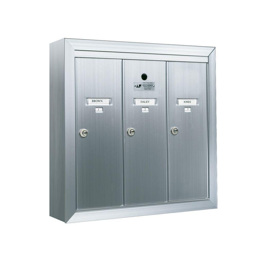 1250 Vertical Series 3-Compartment Aluminum Surface-Mount Mailbox
