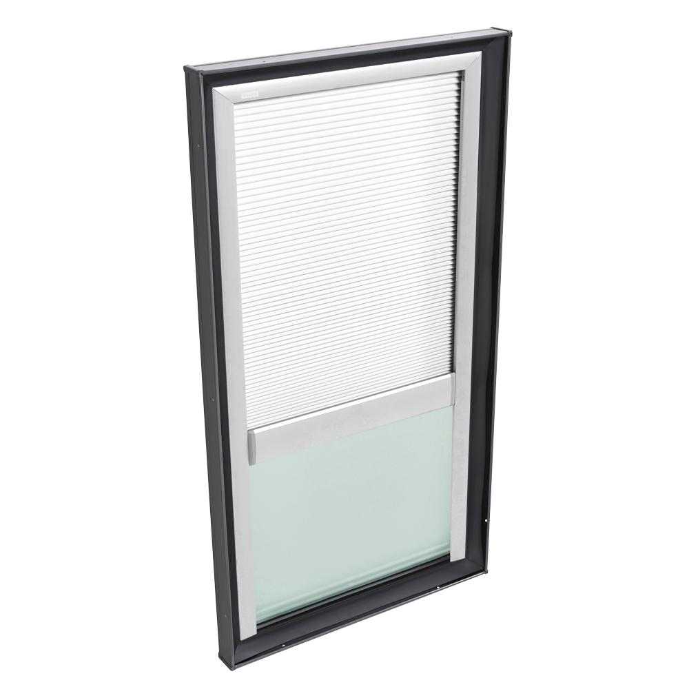 VELUX 22-1/2 in. x 46-1/2 in. Fixed Curb Mount Skylight w/ Tempered Low-E3 Glass & White Manual Room Darkening Blind
