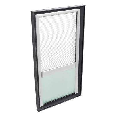 30-1/2 in. x 46-1/2 in. Fixed Curb Mount Skylight w/ Tempered Low-E3 Glass & White Manual Room Darkening Blind