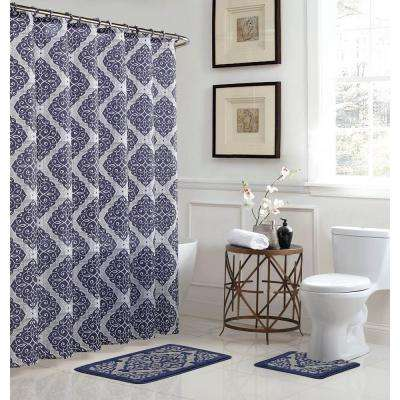 Camille 18 in. W x 30 in. L Bath Rug Set and 72 in. W x 72 in. L Shower Curtain Set in Grey