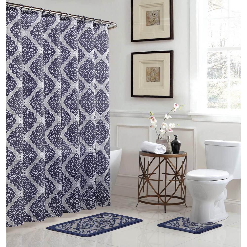Bath Fusion Terrell Light Blue Navy 15 Piece Bath Rug And Shower Curtain Set Ecb0013146 The