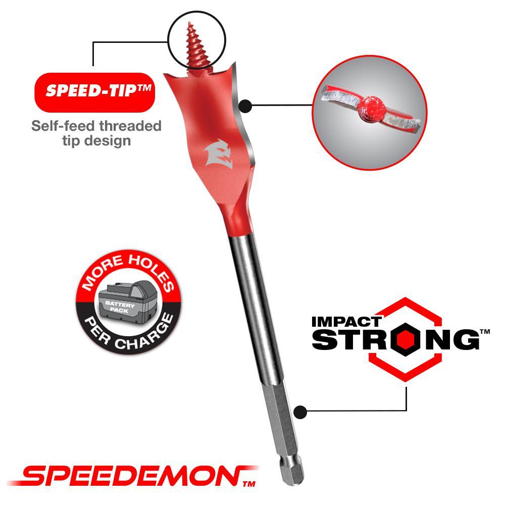 "DIABLO SPEEDemon Spade Drill Bit Curved Paddle Speed Tip Self Feed 3//4/"" x 6/"" 2Pk"