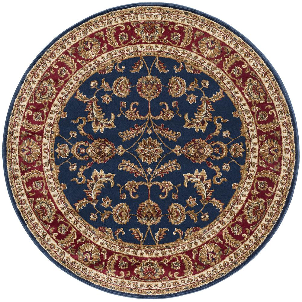 Tayse Rugs Sensation Navy Blue 7 ft. 10 in. Round Transitional Area Rug