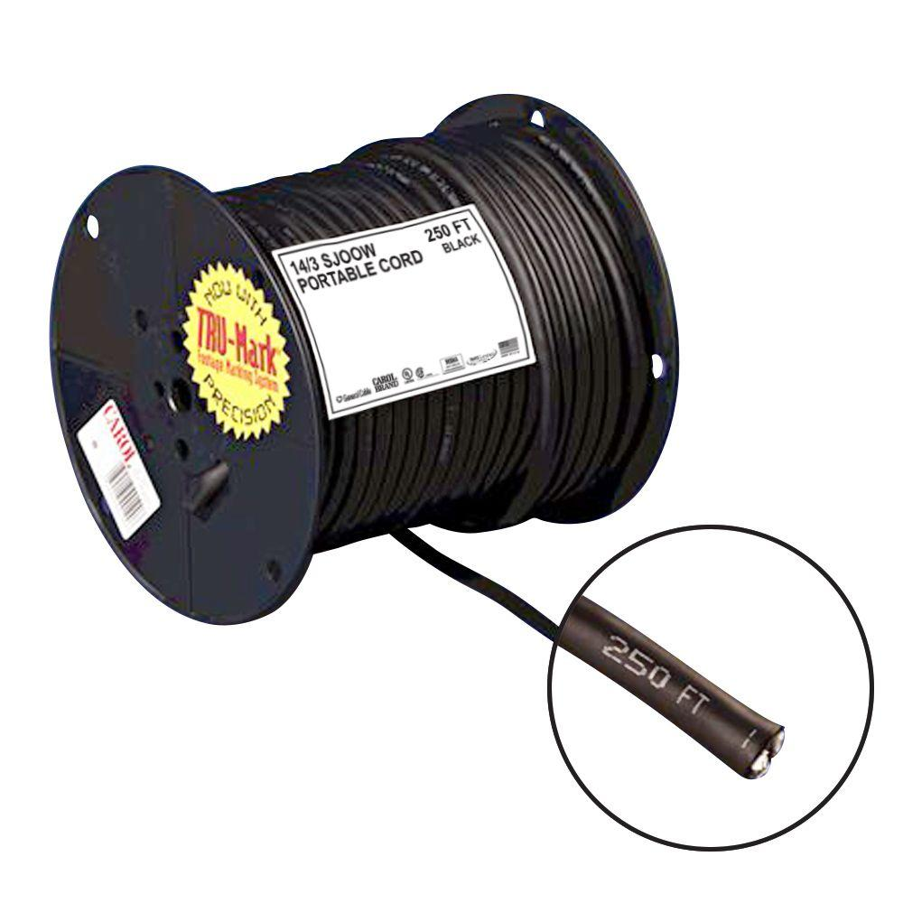 250 ft. 14/3 Black Portable Power SJOOW Electrical Cord-01360.35T ...