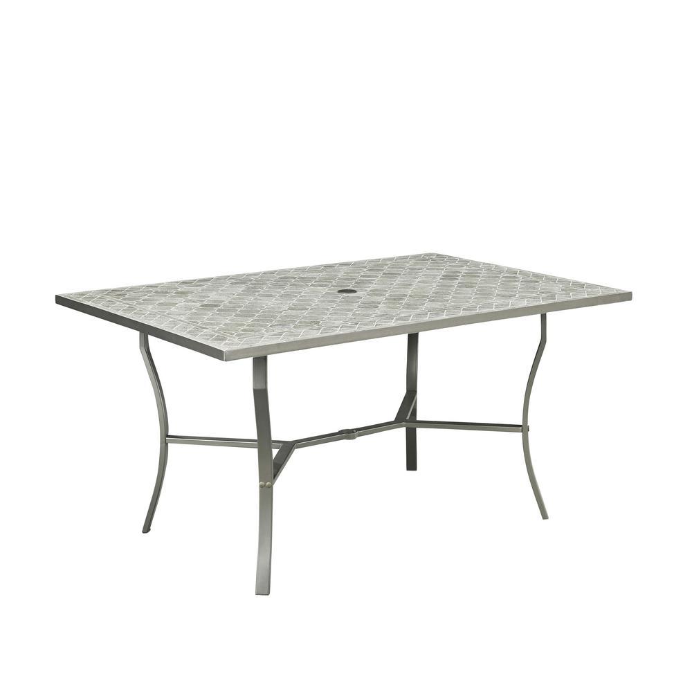 Umbria Gray Rectangular Concrete Tile Outdoor Dining Table
