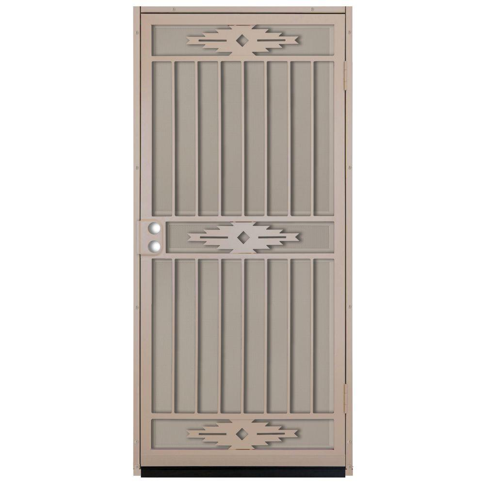 unique home designs 36 in x 80 in pima tan surface mount outswing steel security door with tan. Black Bedroom Furniture Sets. Home Design Ideas