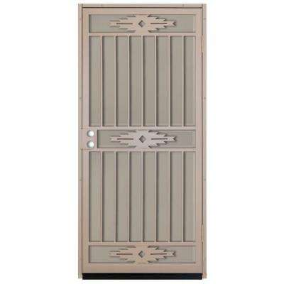 36 in. x 80 in. Pima Tan Surface Mount Outswing Steel Security Door with Tan Perforated Aluminum Screen