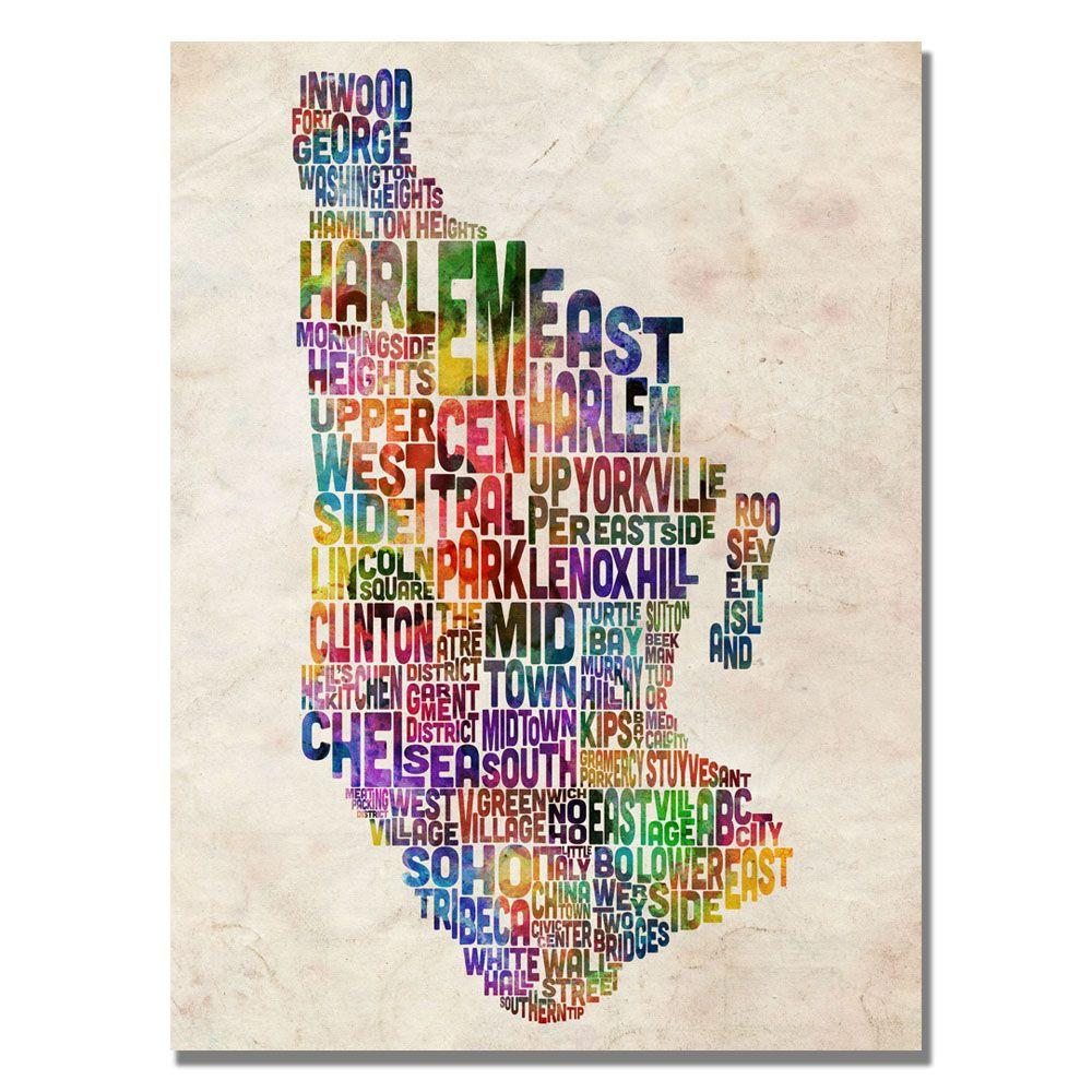 18 in. x 24 in. Manhatan Typography Map Canvas Art