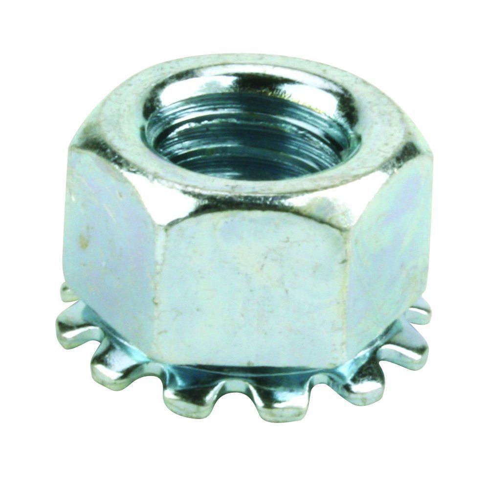 Everbilt 1/4 in. x 28 tpi Fine Zinc-Plated Steel Keep Lock Nut (2 per Bag)