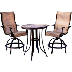 Hanover Monaco 3-Piece Outdoor Bar H8 Dining Set with Round Tile-Top Table and Contoured Sling Swivel Chairs by Hanover