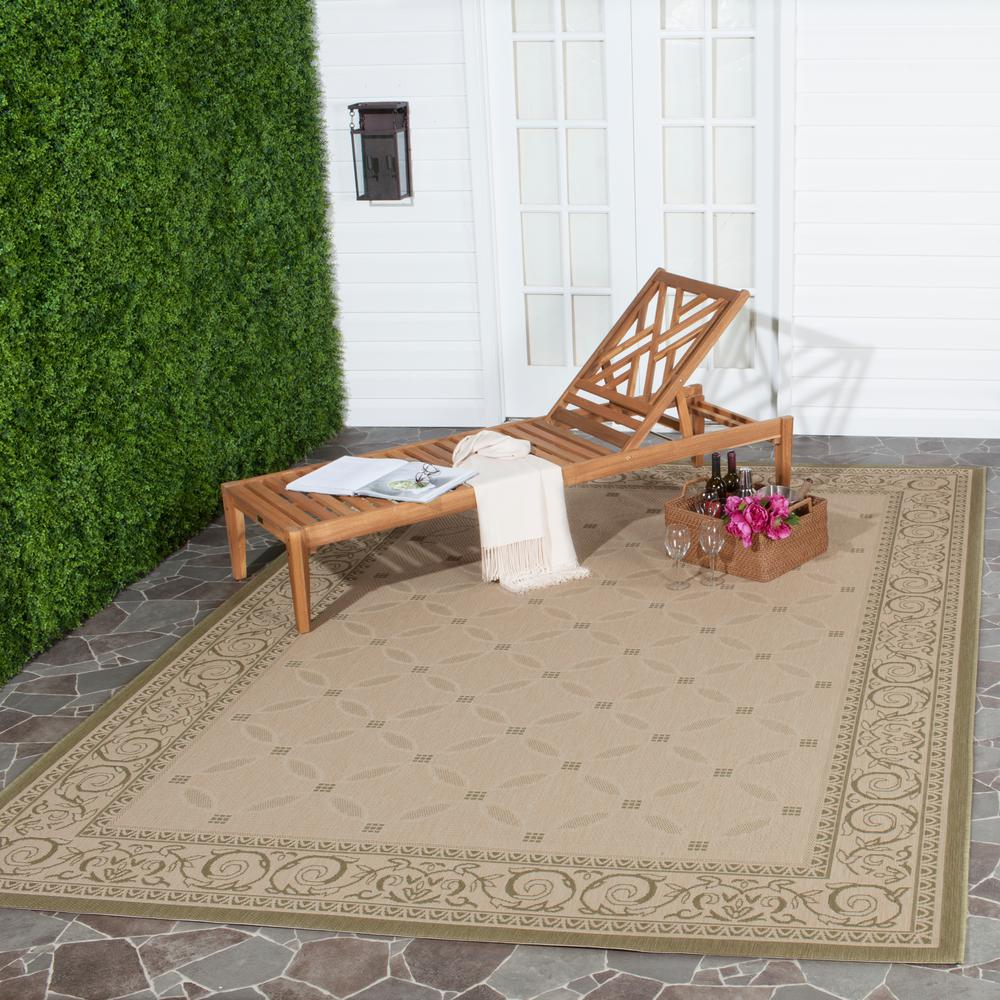 Courtyard Natural/Olive 8 ft. x 11 ft. Indoor/Outdoor Area Rug