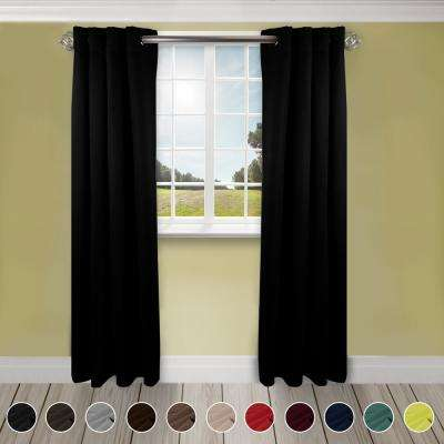 Heavy Duty Drapery 52 in. W x 96 in. H Panel in Black