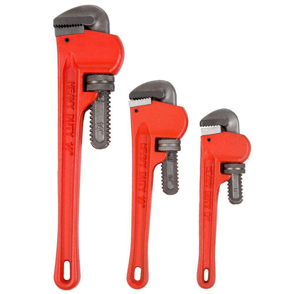 Stalwart Cast Iron Heavy Duty Pipe Wrench Set with Storage Pouch (3-Piece)