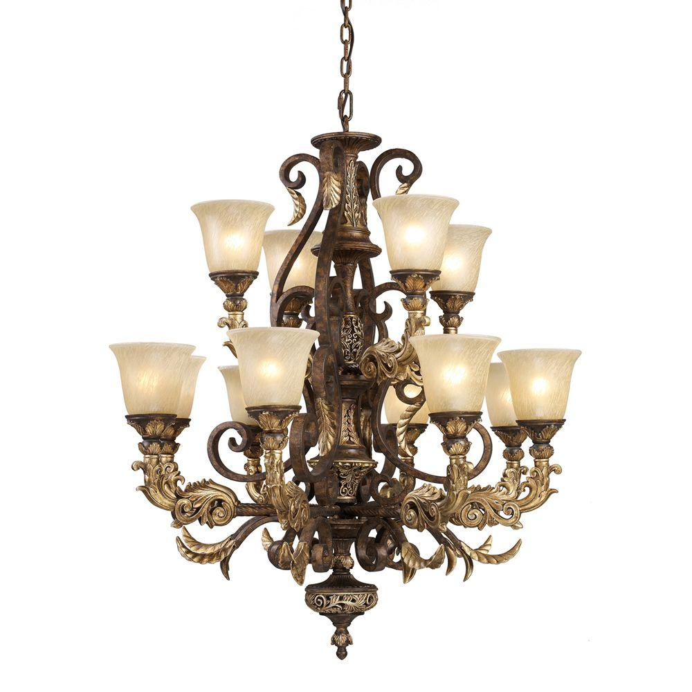 Titan Lighting Regency 12-Light Burnt Bronze Ceiling Mount Chandelier