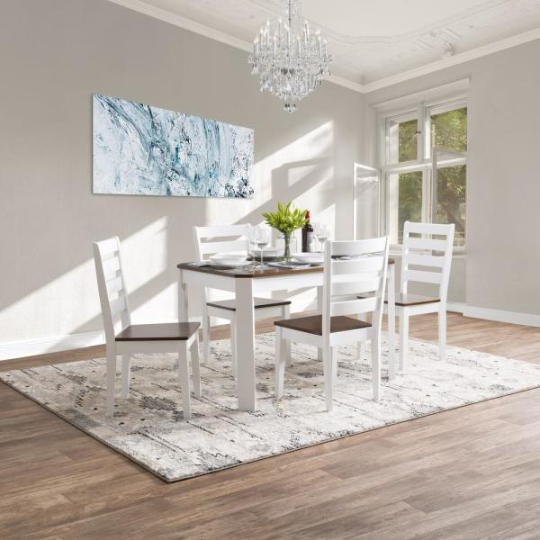 White And Brown Dining Table: CorLiving Memphis 5-Piece White And Brown Duotone Solid