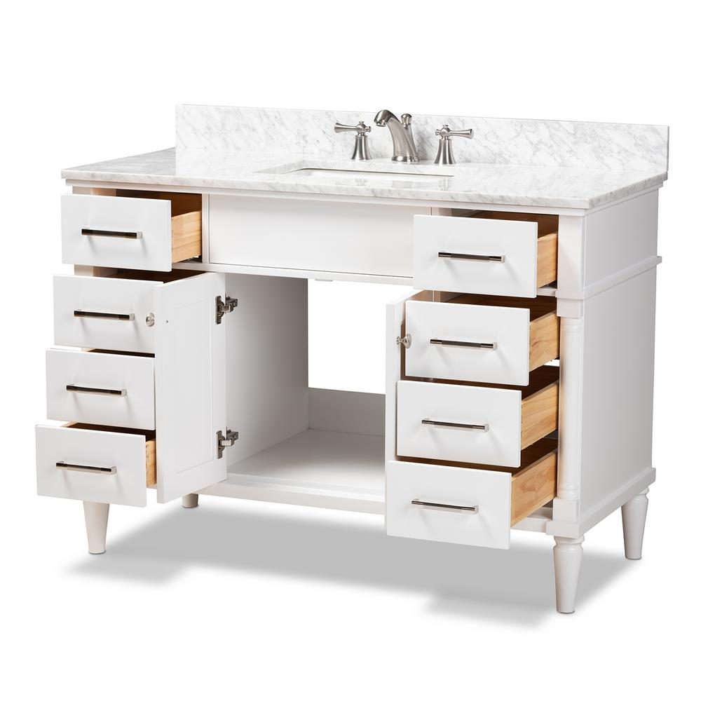 Baxton Studio 48 in. W x 34.7 in. H Bath Vanity in White w/ High Gloss White Basin w/ Vanity Top in White w/ High Gloss White Basin