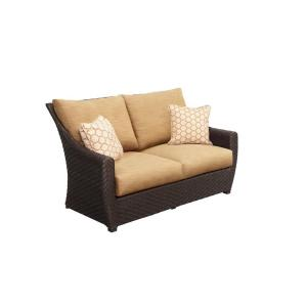 Brown Jordan Highland Patio Loveseat with Toffee Cushions and Tessa Barley Throw Pillows -- CUSTOM by Brown Jordan