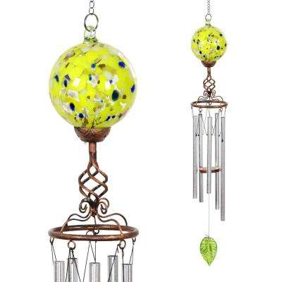 Solar Yellow Ball Metal and Glass Wind Chimes