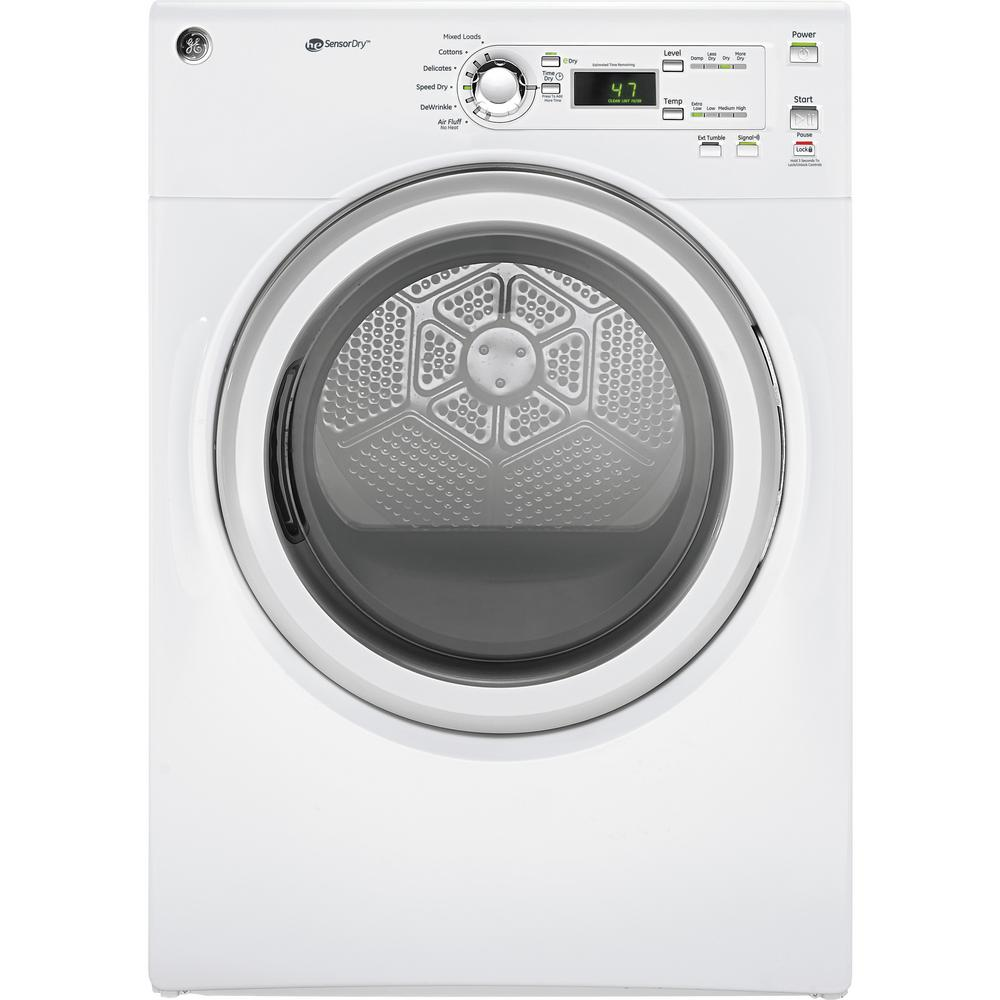 GE 7.0 cu. ft. 120-Volt White Stackable Gas Vented Dryer,...
