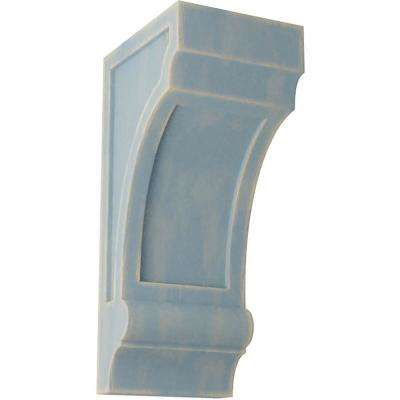 5-1/2 in. x 14 in. x 7 in. Driftwood Blue Diane Recessed Wood Vintage Decor Corbel