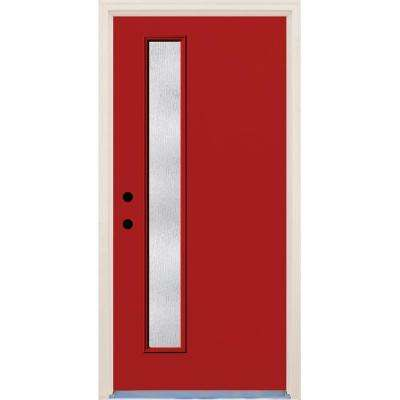 36 in. x 80 in. Right-Hand Engine 1 Lite Rain Glass Painted Fiberglass Prehung Front Door with Brickmould