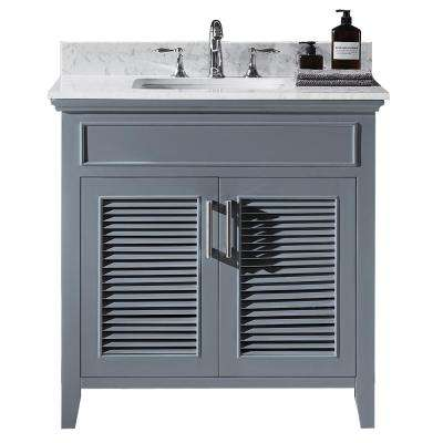 Elise 36 in. W x 22 in. D x 34.21 in. H Bath Vanity in Cashmere Grey with Marble Vanity Top in White with White Basin