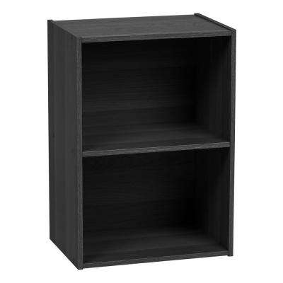 Black 2-Tier Wood Storage Shelf