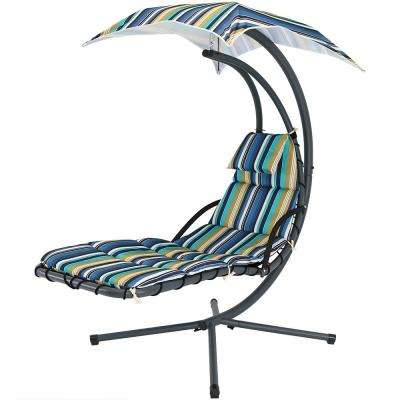 Steel Outdoor Floating Chaise Lounge Chair with Polyester Lakeview Cushions and Canopy