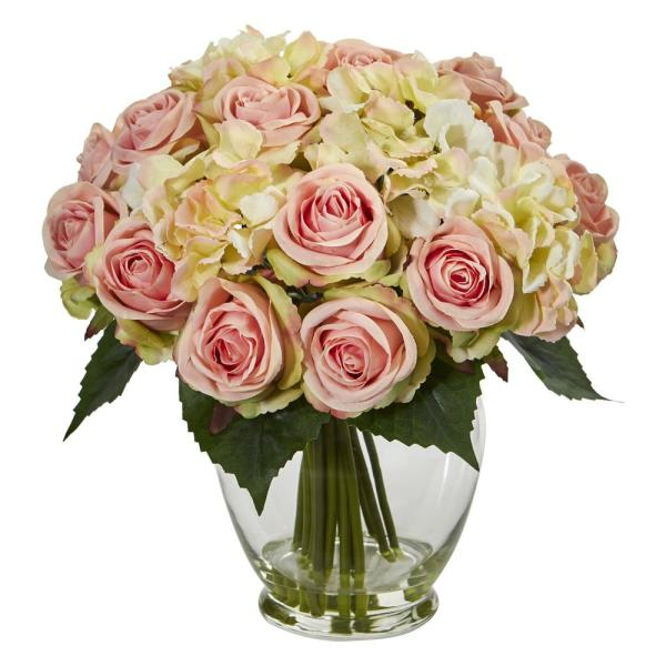 Nearly Natural Indoor Rose and Hydrangea Bouquet Artificial Arrangement 1837