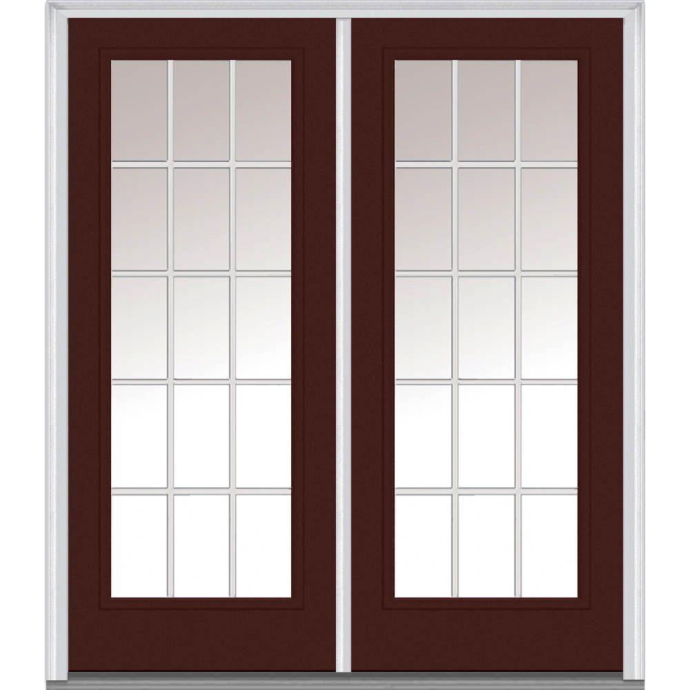 60 in. x 80 in. Grilles Between Glass Right-Hand Full Lite Classic Painted Steel Prehung Front Door