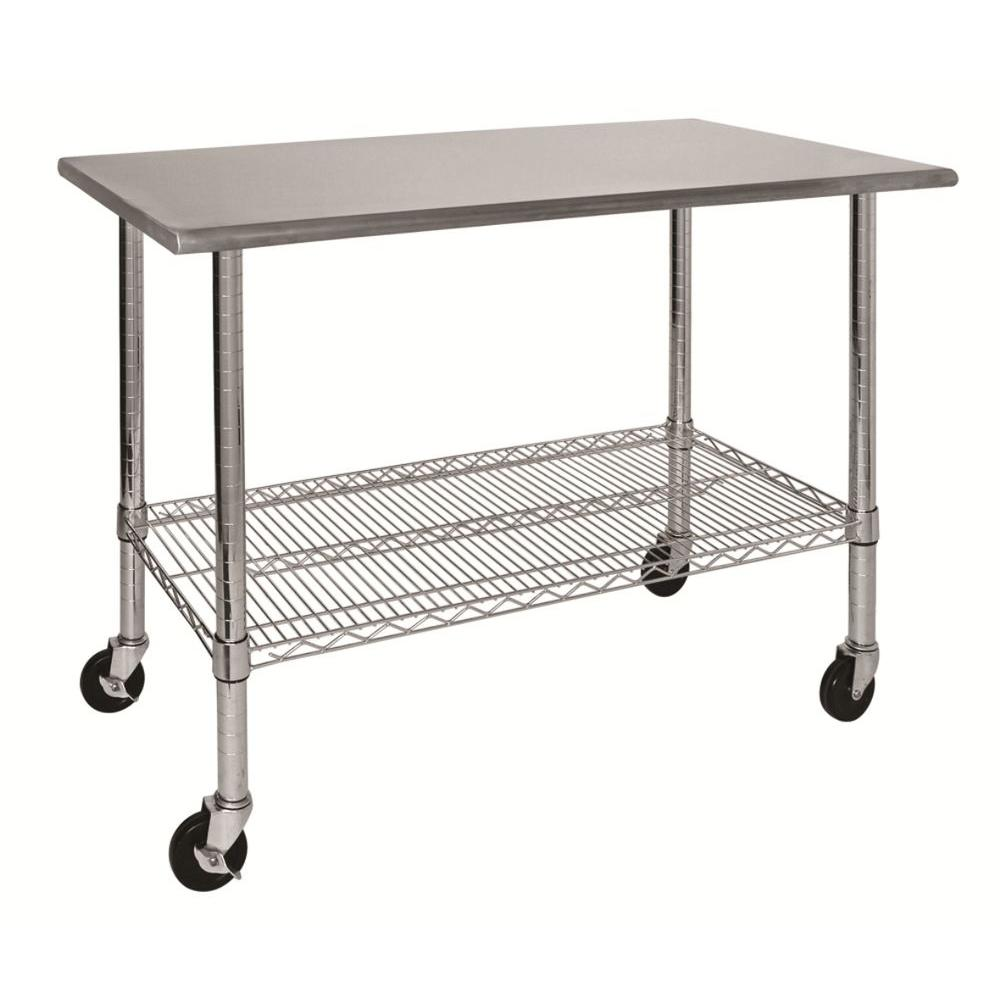 Sandusky In H X In W X In D Stainless Steel Top Work - Stainless steel work table with wheels