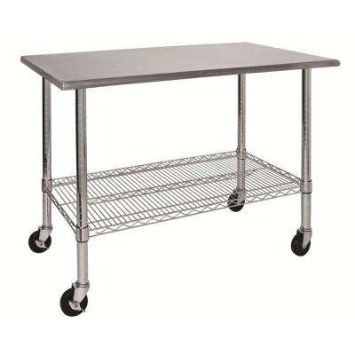 39 in. H x 24 in. W x 46 in. D Stainless Steel Top Work Table with Shelf