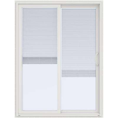 60 in. x 80 in. V-4500 White Prehung Right Hand Sliding Vinyl Patio Door with Blinds