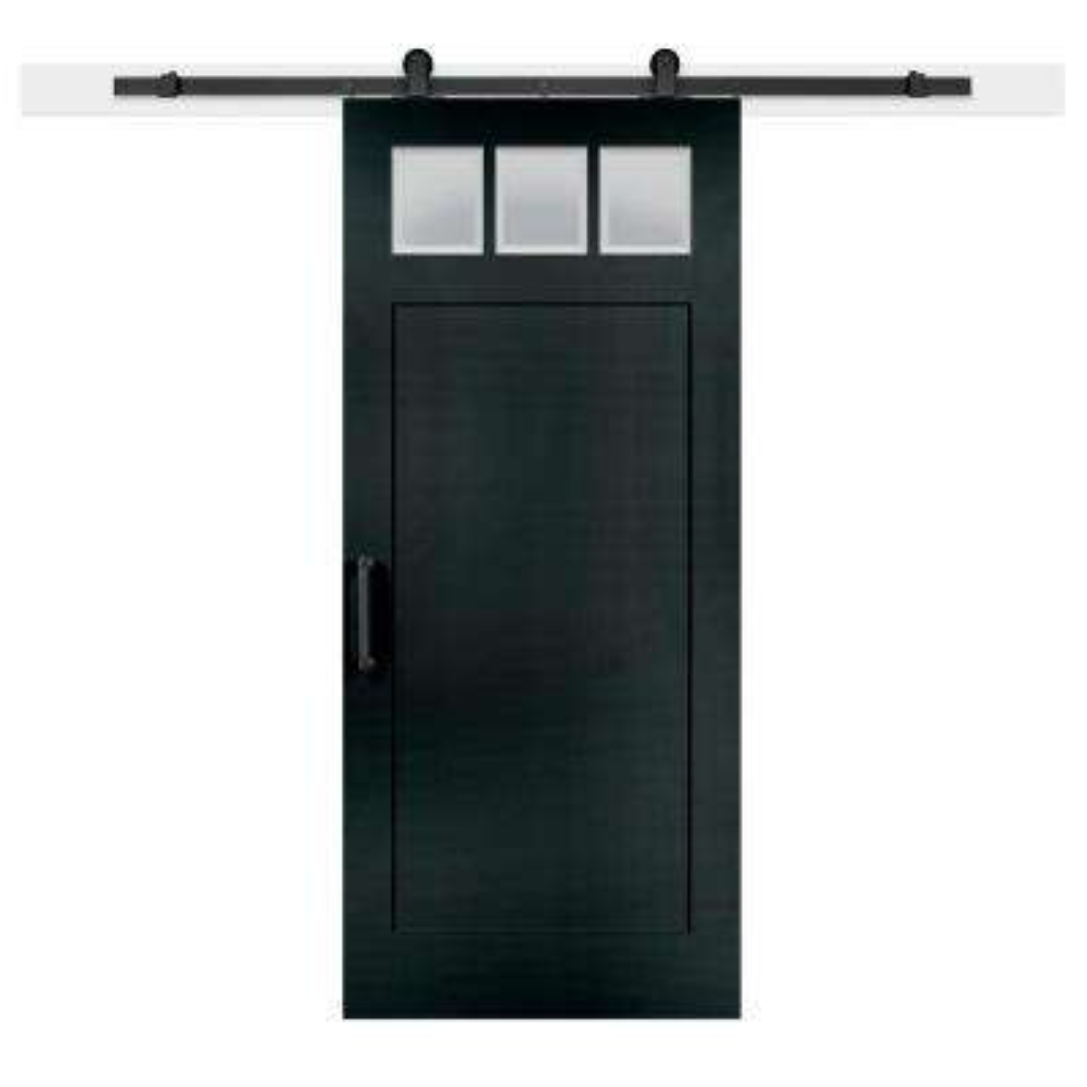 36 in. x 84 in. Knight Craftsman 3-Lite Clear  Solid-Core MDF Barn Door with Sliding Door Hardware Kit