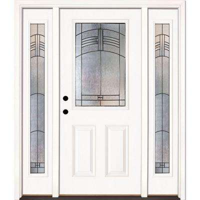 67.5 in. x 81.625 in. Rochester Patina 1/2 Lite Unfinished Smooth Right-Hand Fiberglass Prehung Front Door w/ Sidelites