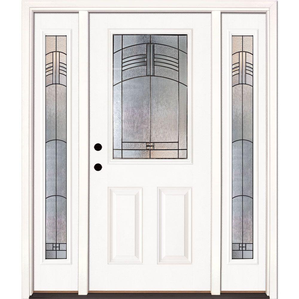 Feather River Doors 63 5 In X 81 625 In Rochester Patina 1 2 Lite Unfinished Smooth Right Hand Fiberglass Prehung Front Door W Sidelites 873191 3a4 The Home Depot
