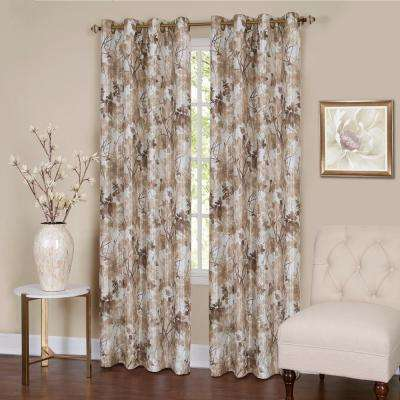 Tranquil  63 in. L Grommet Window Curtain Panel in Tan Lined