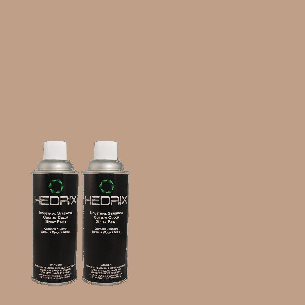 Hedrix 11 oz. Match of MQ1-55 Lite Cocoa Flat Custom Spray Paint (2-Pack)