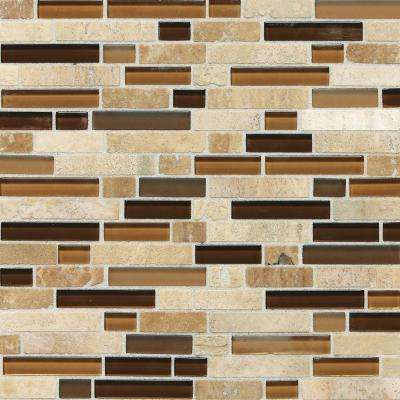 Stone Radiance Caramel Travertino 11-3/4 in. x 12-1/2 in. x 8 mm Glass and Stone Mosaic Tile (1 sq. ft. / piece)