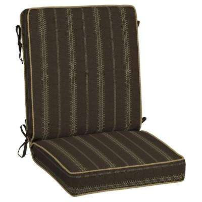 Trevor Stripe Espresso Snap Dry Outdoor Dining Chair Cushion