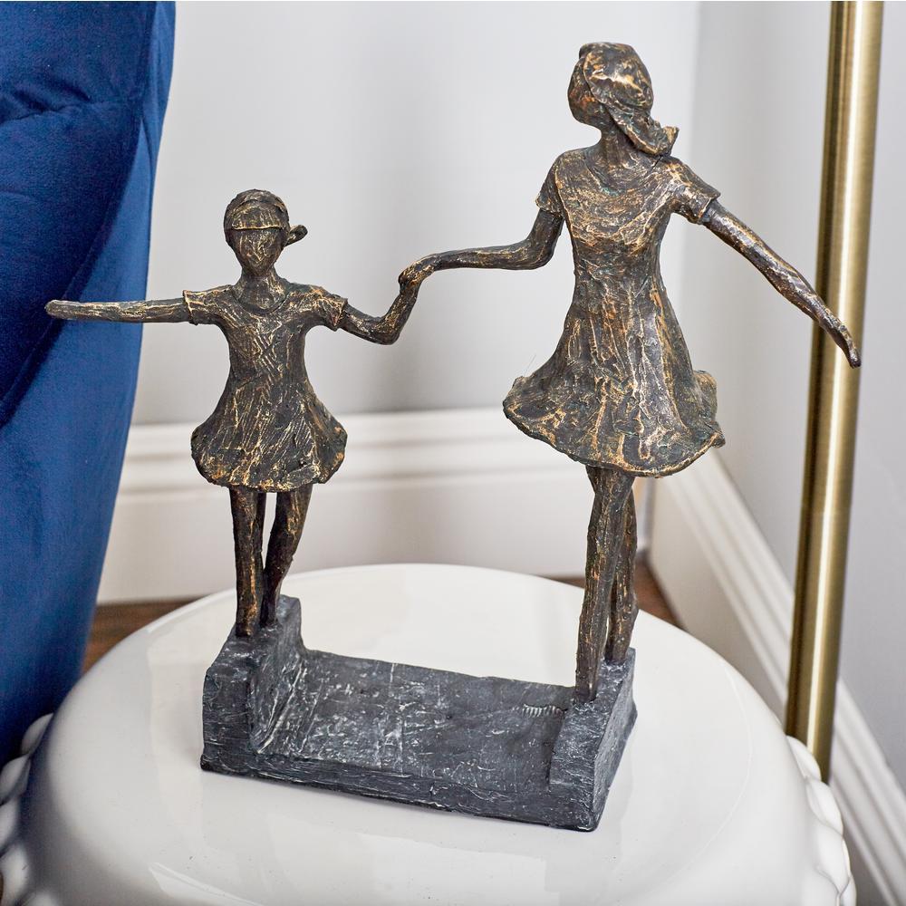 Hand in Hand Girls Polystone Sculpture