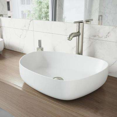 Peony Matte Stone Vessel Sink in White with Seville Vessel Faucet in Brushed Nickel