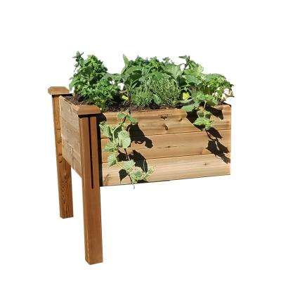 34 in. x 34 in. x 32 in. Modular Elevated Garden Bed Safe Finish Extension Kit Wood Planter