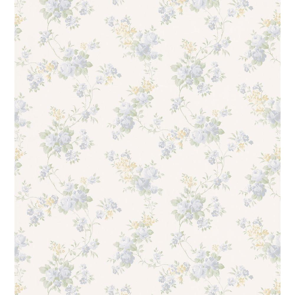 Brewster Mid-Scale Rose Trail Wallpaper